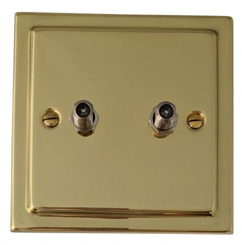 G&H TB237 Trimline Plate Polished Brass 2 Gang Satellite Socket Point